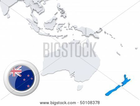 Map Of New Zealand With National Flag