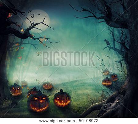 Diseño de Halloween - bosque calabazas