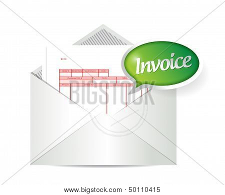 Invoice Inside An Envelope. Illustration Design