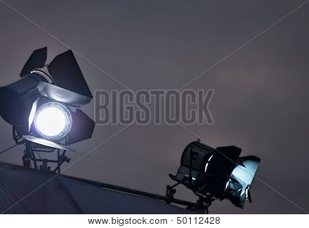 Two Searchlights In Dark Space