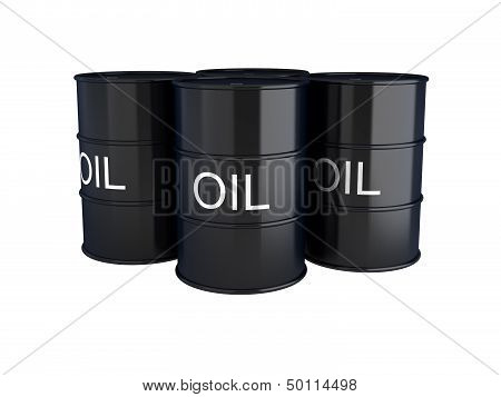 3D Render Of Black Oil Barrels On White