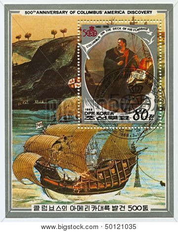 NORTH KOREA - CIRCA 1988: A stamp printed in North Korea shows image of the 500th Anniversary Of Columbus, America Discovery, circa 1988.