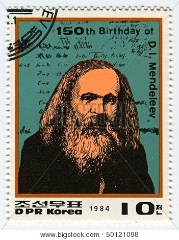 NORTH KOREA - CIRCA 1984: A stamp printed in North Korea shows image of the Dmitri Ivanovich Mendeleev was a Russian chemist and inventor, circa 1984.