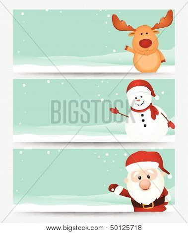Set of christmas banner. with santa ,reindeer and snowman