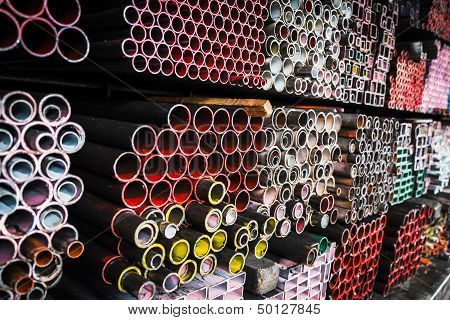 Stack of iron pipes