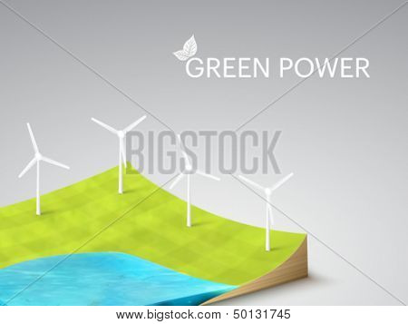 vector Earth slice - wind turbines