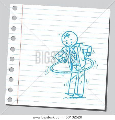 Businessman with hula hoop