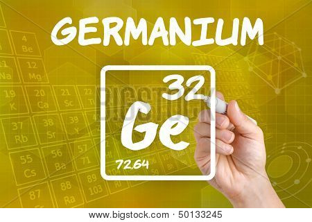 Hand drawing the symbol for the chemical element germanium