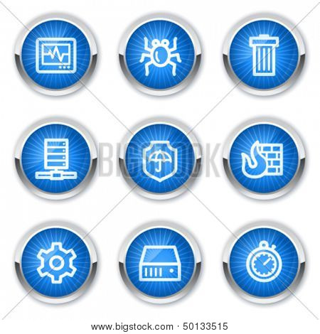 Internet security web icons, blue buttons