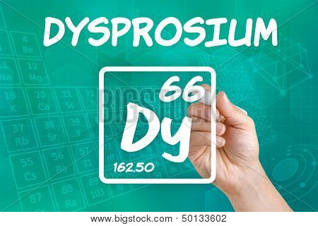 Hand drawing the symbol for the chemical element dysprosium