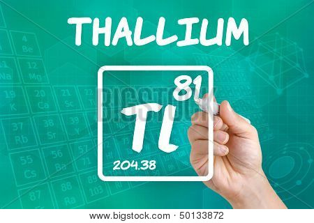 Hand drawing the symbol for the chemical element thallium