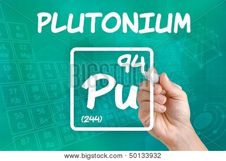 Hand drawing the symbol for the chemical element plutonium