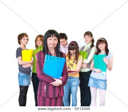 Casual Teacher And Her Students Over White