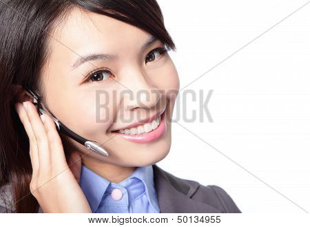 Close Up Of Woman Customer Support Operator