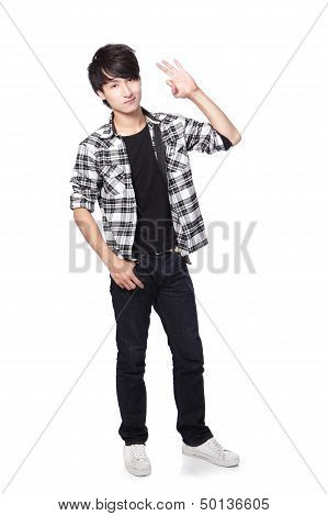 Young Man In Full Body Show Ok Hand