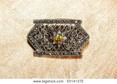 Marcasite Brooch With Central Gemstone