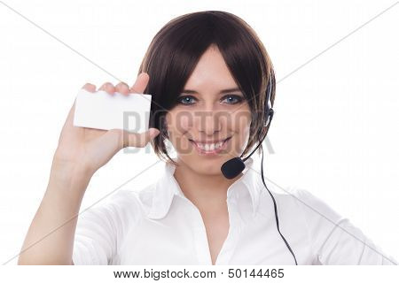Call Center Girl Holding Card