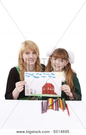 Mother And Her Young Daughter Are Holding The Picture.