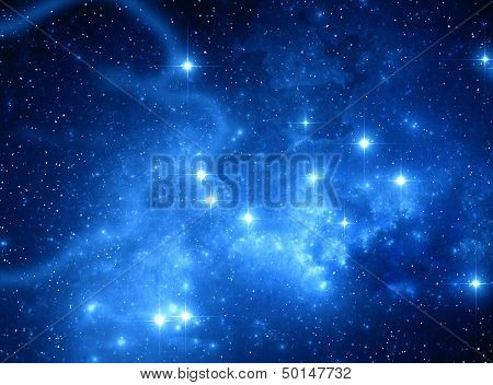 Blue Space Star Nebula