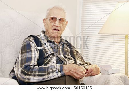 Elderly Man With Gift Card
