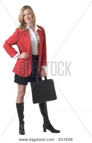 Attractive Business Woman In Red Blazer