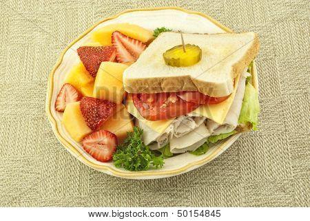 Fresh Turkey Sandwich And Fruit