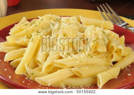 Closeup Of Buttered Pasta With Parmesan Cheese
