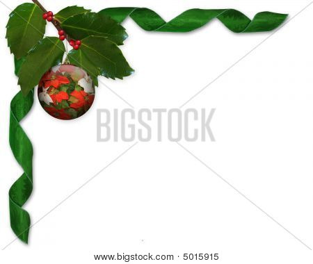 Christmas Holly And Ribbons Border