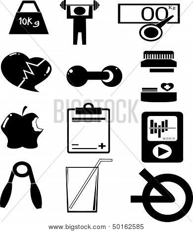 set of fitness icons
