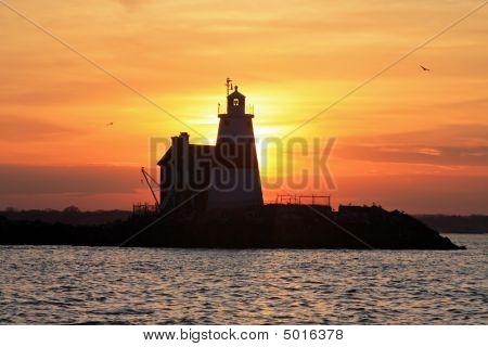 Sunset Behind Execution Rocks Lighthouse