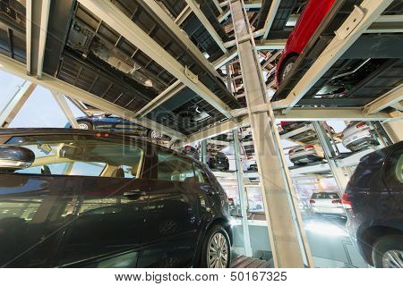 MOSCOW - JAN 11: View from one of the floors of a multi-storey automatic car parking system in tower for store cars in Varshavka Center on January 11, 2013, Moscow, Russia
