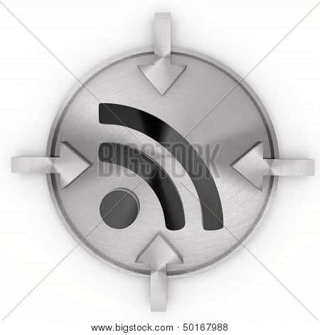 3D Render Of A Cool Wifi Symbol On Metallic Label