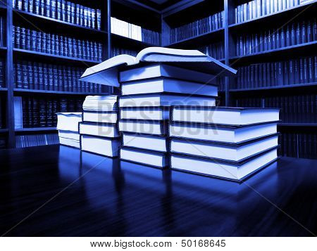 Stack of old books on a desk or table in a library