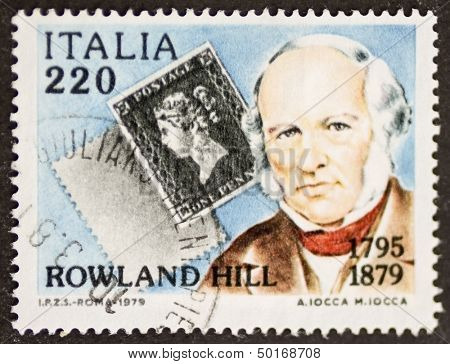 ITALY - CIRCA 1979: a stamp printed in Italy celebrates the first centenary of the death of Rowland Hill, postage stamp inventor. Italy, circa 1979