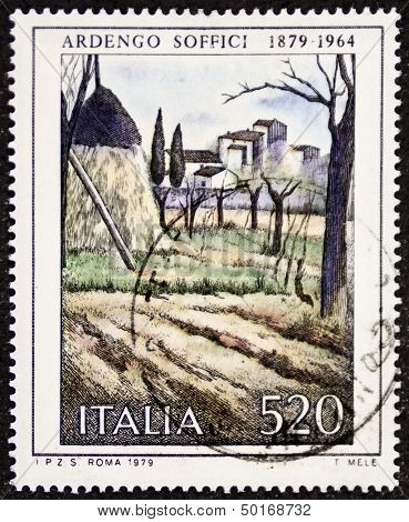 ITALY - CIRCA 1979: a stamp printed in Italy celebrates the first centenary of  the birth of  painter Ardengo Soffici (1879 - 1964) showing a rural view painted by the same artist. Italy, circa 1979