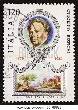 ITALY - CIRCA 1979: a stamp printed in Italy celebrates the first centenary of the birth of Ottorino Respighi (1879 - 1936), famous Italian composer, musicologist and conductor. Italy, circa 1979