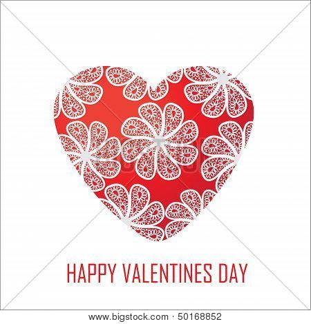Red Heart With Flowers For Valentine's Day, For Design And For Other Purposes, Isolated