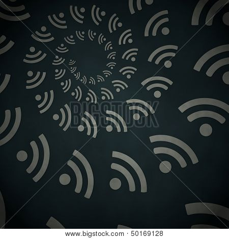 3D Render Of A Waved Wifi Label  On Vintage Background