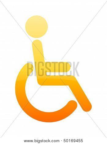 Glossy Orange Wheelchair Accessible Toilet Symbol
