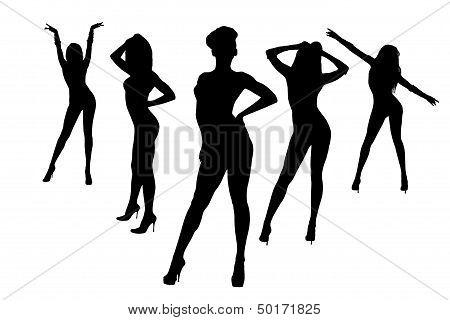 Dancing Girls Silhouette