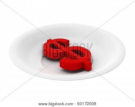 3D Render Of Red Dollar On Plate On White Background