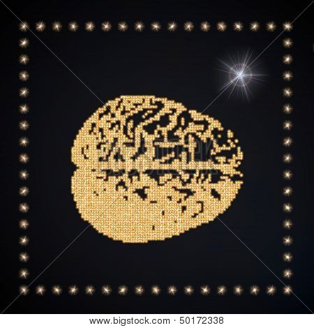 3D Graphic Of A Thinking Brain Symbol Glittering Golden