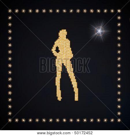 3D Render Of A Beautyful Sexy Symbol Glittering Golden