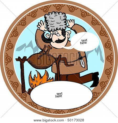 Georgian man with barbecue