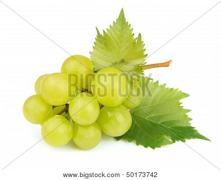 Cluster Of White Grapes With Leaves