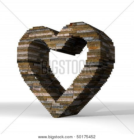 Illustration Of A Isolated Heart Sign  Built Out Of Stones