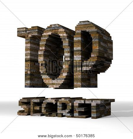 3D Render Of A Strong Top Secret Symbol  Built Out Of Stones