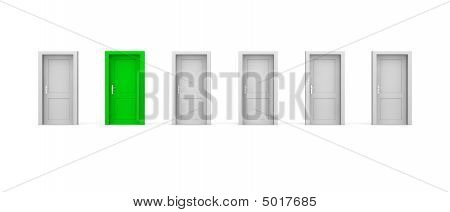 Line Of Six Doors  One Green