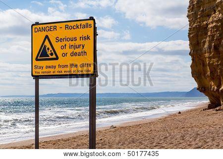 Rockfalls Warning Sign