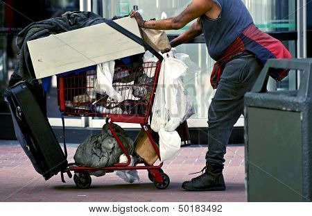 Homeless With Shopping Cart